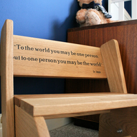 Wooden Personalised Childs Oak Chair, Step Stool, Childrens Engraved Furniture
