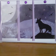 Beautiful landscape card featuring a wolf