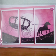 Fantasy card featuring a horse and carriage