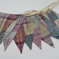 Wedding Bunting, Bunting, Tweed Bunting, Pink, Lilac & Blue Bunting,