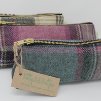 Pencil Case, Tweed Pencil Case, Small Make Up Bag, Tartan Pencil Case