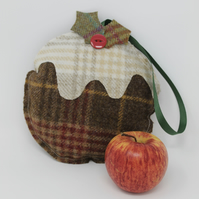 Christmas Decoration, Christmas Pudding Decoration, Tweed Christmas Decoration