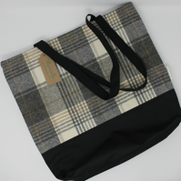 Tweed Shopper Bag, Tweed Bag, Shopper, Grey Bag, Tartan Bag, Tweed Tote Bag