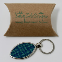 Key Ring UK, Rugby Ball Keyring, Rugby Gift, Harris Tweed, Rugby