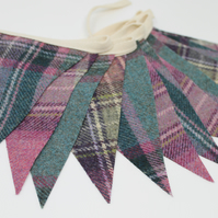 Tweed Bunting, Teal Bunting, Turquoise & Pink Bunting, 2.5m