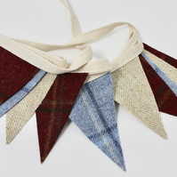 Mini Tweed Bunting, Tweed Bunting, Little Bunting, Red, Blue & Cream Flag