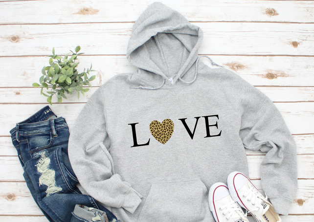 Ladies Grey Hoodie Leopard Animal Print LOVE Heart