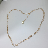 Heart shaped rose gold plated sterling silver necklace with fresh water pearl