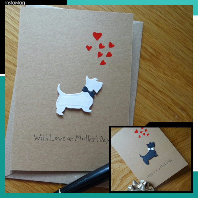 A Scottie and Westie Greeting Card, 3-D Birthday card for a Dog Lover