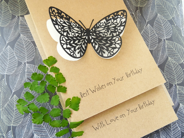 A Butterfly Greeting Card, 3-D Birthday card for her