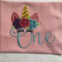 First birthday, 1st birthday applique, embroidey unicorn t-shirt
