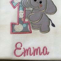 Personalised embroidery applique 1st birthday t-shirt