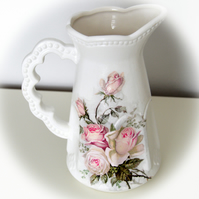 Decoupage Ceramic Jug, Decorated jug, Hand painted Jug, Shabby Chic jug