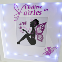 Embroidered I Believe In Fairies, Light up Shadow Box, Night Light Picture