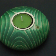 tea light candle holder green