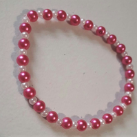 Pink Pearlescent Beaded Elasticated Bracelet