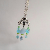 Blue Green Glass Bead Chandelier Pendant with Tibetan Silver