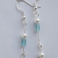 Frosted Blue and Pearl Drop Earrings