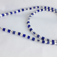 Cobalt and White Glass Bead Necklace