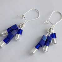 Cobalt and White Glass Bead Earrings