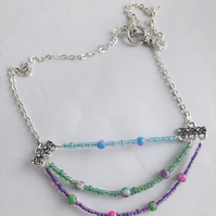 Blue, Green and Purple Stranded Necklace