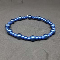 Deep Blue Pearlescent Stretch Bracelet