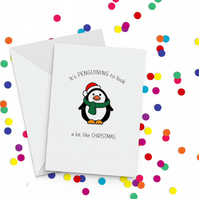 Penguining Christmas Card