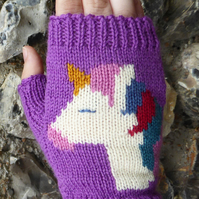 Unicorn Fingerless Wool Gloves