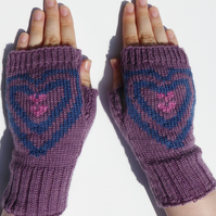 Heart Knitted Wool Mittens