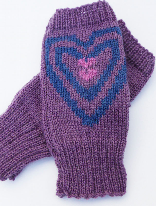 Heart Knitted Wool Fingerless Gloves