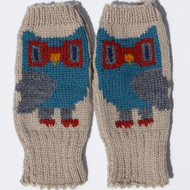 Owl Wool Wrist Warmers