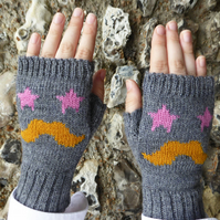 Moustache Fingerless Wool Gloves