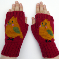 Yellow Bird Wool Knit Fingerless Gloves