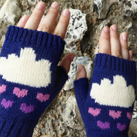 Wool Knitted Fingerless Gloves with Heart and Clouds Intarsia design
