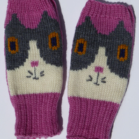 Wool Knit Cat Fingerless Gloves