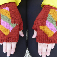 Arrow Fingerless Wool Knit Gloves