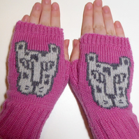 Leopard Knitted Fingerless Gloves Leopard