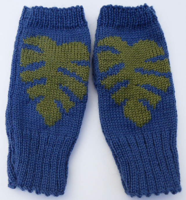 Cheese Plant Knit Fingerless Mittens