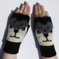 Black Leopard Knit Fingerless Wool Gloves.