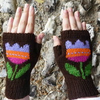 Hand Knit Fingerless Mittens with Tulip Flower design