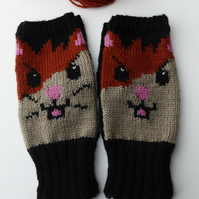 Knitted Fingerless Mittens with Hamster Design
