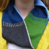 Wool Knit Colour Block Infinity Scarf