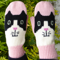 Pink Knitted Cat Mittens, Wool Gloves -SALE-