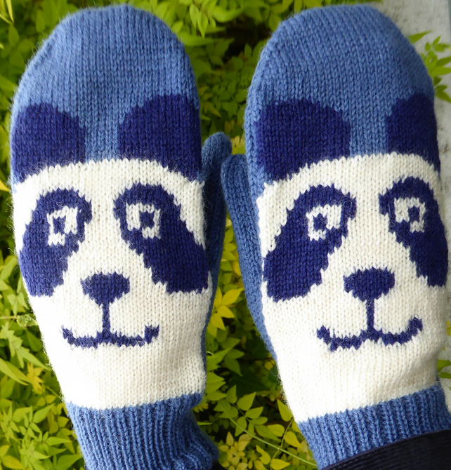 Knitted Panda Mittens, Wool Gloves - SALE -