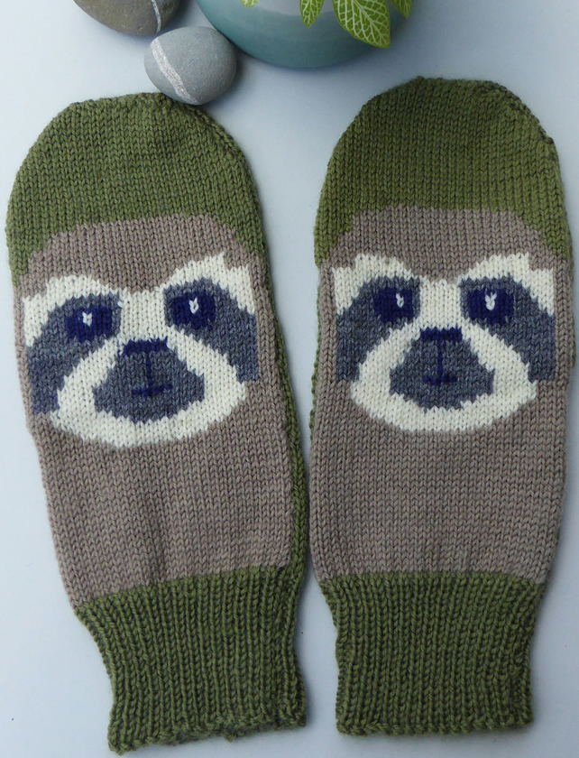 Knitted Sloth Mittens