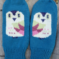 Kniited Owl Wool Mittens