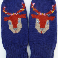 Knitted Reindeer Wool Mittens with flower stitches
