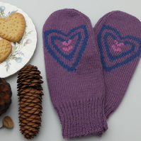 Love Hearts knitted wool Mittens, Winter Gloves