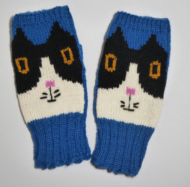 Wool Cat Fingerless Wrist Warmers, Knitted Fingerless Gloves, Animal Mittens