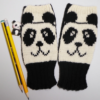Panda Knit Fingerless Gloves, Wrist Warmer, Panda Wool Fingerless Mittens